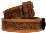 "Embossed Full Grain Leather Belt - Card Suits Clubs, Diamonds, Hearts and Spades 1½"" (38mm) Wide"